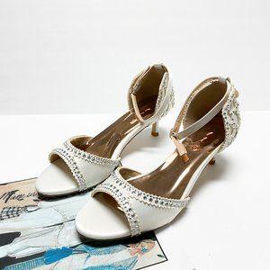 XYD Rhinestone Studded Ankle Strap Kitten Sandals